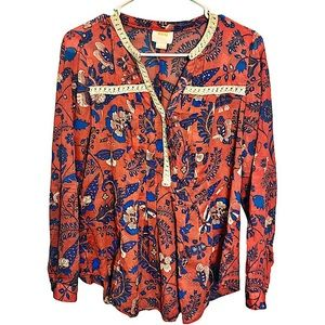 Anthropolgie Maeve Abella Butterfly Floral Blouse
